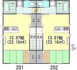 MガーデンパレスIII 2階ワンルームの間取り