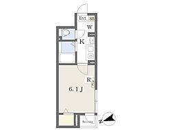 都営大江戸線 新御徒町駅 徒歩9分の賃貸アパート 3階1Kの間取り