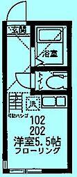 ユナイト元住吉サン・セバスチャン[2階]の間取り