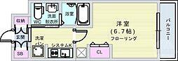 Osaka Metro千日前線 阿波座駅 徒歩8分の賃貸マンション 12階1Kの間取り