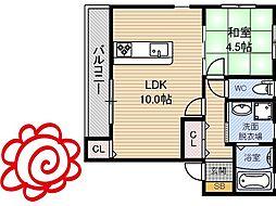JR片町線(学研都市線) 徳庵駅 徒歩8分の賃貸アパート 1階1LDKの間取り