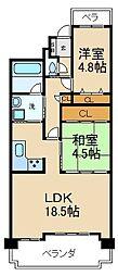 大阪府寝屋川市梅が丘1丁目の賃貸マンションの間取り