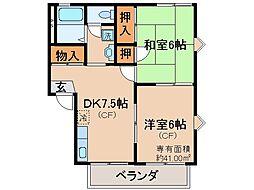 京都府京都市伏見区深草柴田屋敷町の賃貸アパートの間取り