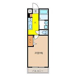 長野電鉄長野線 権堂駅 徒歩13分の賃貸アパート 1階1Kの間取り