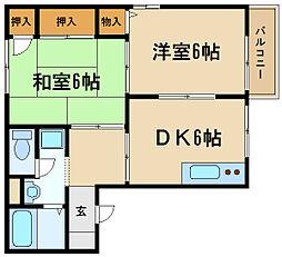 兵庫県伊丹市伊丹7丁目の賃貸アパートの間取り