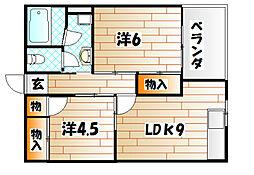 福岡県北九州市小倉北区愛宕1丁目の賃貸マンションの間取り