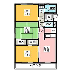 みゆきハイツ B棟[2階]の間取り