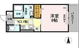 JR吉備線 備前三門駅 徒歩15分の賃貸アパート 1階1Kの間取り