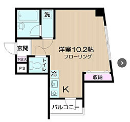 東京都新宿区若葉2丁目の賃貸マンションの間取り