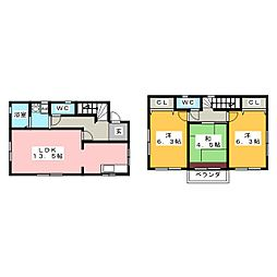 [一戸建] 岐阜県羽島市小熊町島3丁目 の賃貸【/】の間取り