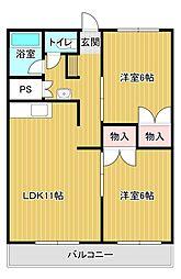 静岡県浜松市中区蜆塚3丁目の賃貸マンションの間取り