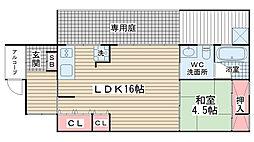 的場ハイツII[1F号室]の間取り