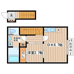 仙台市地下鉄東西線 国際センター駅 徒歩8分の賃貸アパート 2階1DKの間取り
