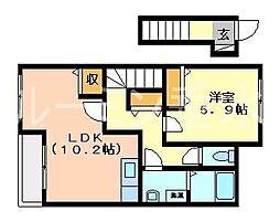兵庫県三木市平田2丁目の賃貸アパートの間取り