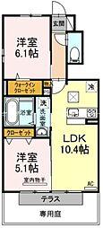 岡山県赤磐市河本の賃貸アパートの間取り