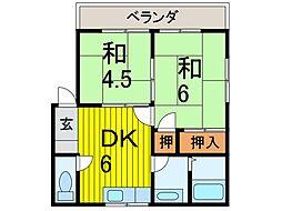 沢田コーポB棟[201号室]の間取り