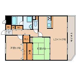 奈良県大和高田市大中南町の賃貸マンションの間取り
