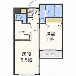 札幌市営東豊線 東区役所前駅 徒歩8分の賃貸マンション 1階1LDKの間取り