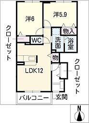 デジュネさくら A棟[1階]の間取り