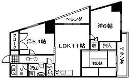 大阪府泉佐野市鶴原2丁目の賃貸マンションの間取り