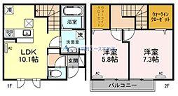 (仮称)生野区小路D-room 1階2LDKの間取り