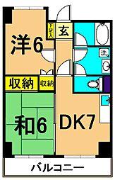 南大井九重ハイツ 4階2DKの間取り