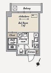 東急世田谷線 上町駅 徒歩6分の賃貸マンション 6階1Kの間取り