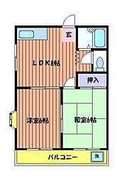 東京都日野市大字日野の賃貸アパートの間取り