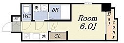 エスリード大阪ドームCERCA 5階1Kの間取り