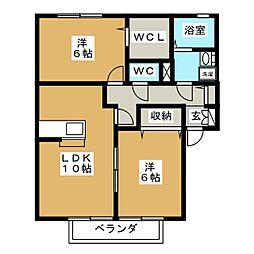 ローズガーデンB[1階]の間取り