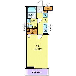 東急田園都市線 用賀駅 徒歩5分の賃貸マンション 2階1Kの間取り