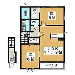 アバンツァート・K[2階]の間取り