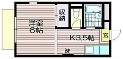 東京都調布市若葉町3の賃貸アパートの間取り