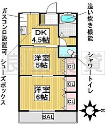 愛知県名古屋市千種区池下町2丁目の賃貸マンションの間取り