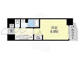 近鉄南大阪線 河堀口駅 徒歩3分の賃貸マンション 7階1Kの間取り