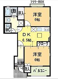 ハーブマンションボナールA棟[101号室]の間取り
