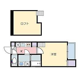 仙台市営南北線 旭ヶ丘駅 徒歩10分の賃貸アパート 2階1Kの間取り