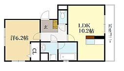 京阪宇治線 木幡駅 徒歩6分の賃貸アパート 2階1LDKの間取り
