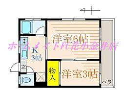 東京都西東京市向台町3丁目の賃貸アパートの間取り
