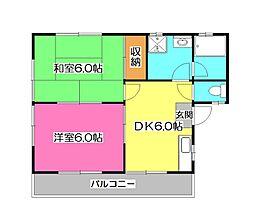 ハイツ山田B[2階]の間取り