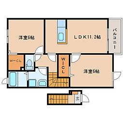 JR東海道本線 静岡駅 バス24分 静岡西高校前下車 徒歩2分の賃貸アパート 2階2LDKの間取り