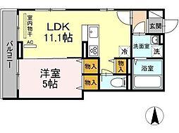 OKUE II 2階1LDKの間取り