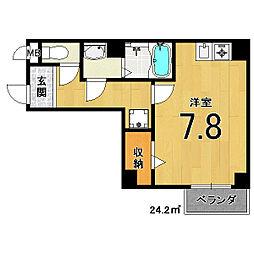 ピースフル二条[6階]の間取り
