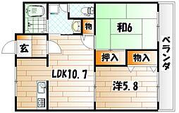 ロワイヤル小倉[3階]の間取り