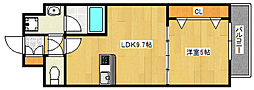 阪急神戸本線 王子公園駅 徒歩6分の賃貸マンション 3階1LDKの間取り