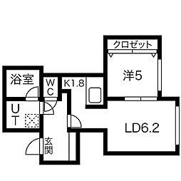 札幌市営南北線 さっぽろ駅 徒歩8分の賃貸マンション 5階1LDKの間取り