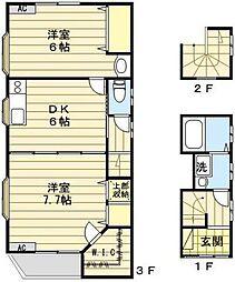 東京都荒川区荒川5丁目の賃貸アパートの間取り