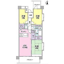 セレーノ武蔵中原[4階]の間取り