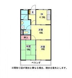 愛知県一宮市森本2丁目の賃貸マンションの間取り