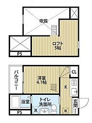 愛知県名古屋市西区浄心2丁目の賃貸アパートの間取り